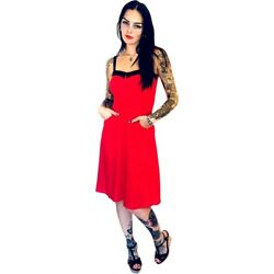Switchblade Stiletto Swing Dress Red Retro Rockabilly