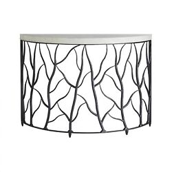 47 Wide Console Table Iron Organic Twig Design Smooth White Marble Top