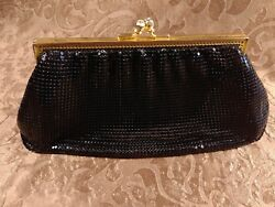 Whiting And Davis Black Mesh Evening Bag Clutch Gold Kisslock Purse