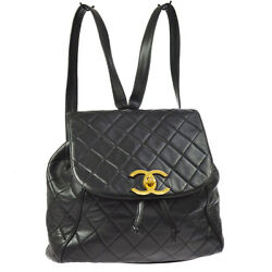 Auth CHANEL Quilted CC Chain Drawstring Backpack Bag Black Leather VTG AK24499