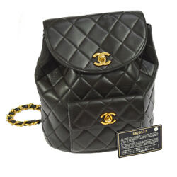 Authentic CHANEL Quilted CC Logos Chain Backpack Bag Black Leather VTG V20573