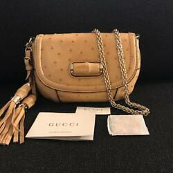 Gucci Bold Bamboo Tan Ostrich Skin Shoulder Bag New With Tags