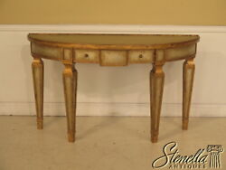 39300e Hollywood Regency Crackle Glass Console Table W. Gold Gilt