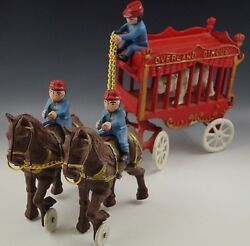 Cast Iron Cast Iron Overland Circus 2 Horse Drawn Wagon And Bear Toy Large 16and039and039