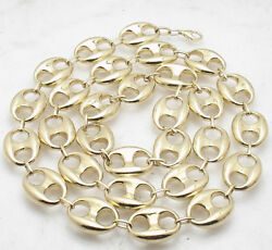 16mm Puffed Mariner Anchor Link Chain Necklace Real 10k Yellow Gold