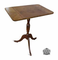 Antique Queen Anne Cherry Tilt Top Candle Stand Table 1900's