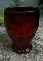 Four Fenton Ruby Red Glass Tumblers Dots And Panels W/ Rayed Thumbprint