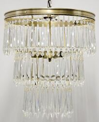 17 Chandlier Clear Glass Crystals Hang From 3 Tier Metal Frame Antique Brass