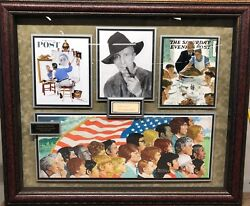 Norman Rockwell, Autographed Jsa Deluxe Framed Photo Collage Scarce