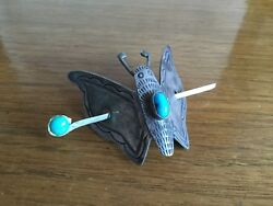 Rare Antique Navajo Pawn Sterling Moth Hair Clip W/bisbee Turquoise Butterfly