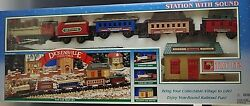 New Bright Train Set Dickensville Collectables Station With Sound Christmas Nib