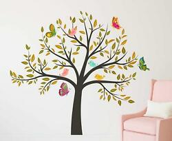 Colorful Tree With Birds Wall Stickers Removable Kids Nursery Home Decal