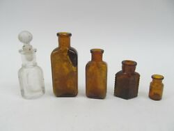 Lot Of 5 Small Antique And Vintage Glass Bottles - Perfume Poison Tea Medicine