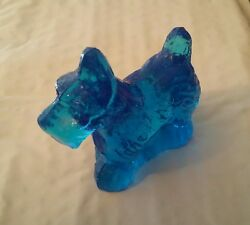 Scottish terrier glass blue figurine