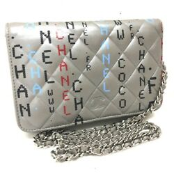 AUTHENTIC CHANEL Computer Circuit Board Design Leather Chain Wallet WOC Gray