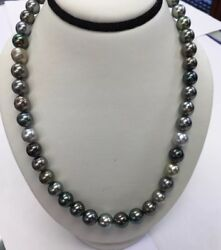 Tahitian South Sea Pearls. 9x10mm Multi Color. 14k Gold Clasp. 17