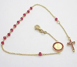 18k Yellow Gold Rosary Bracelet Faceted Red Ruby Root Cross And Miraculous Medal