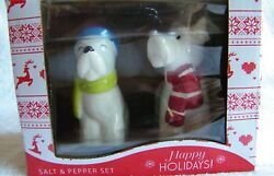 West Highland Westie Terrier Dog Salt & Pepper Shakers w Holiday Hats & Scarves