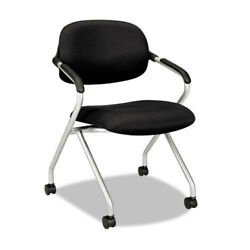 Basyx Vl303mm10x Nesting Arm Chair With Caster Wheels Base, Black And Silver New
