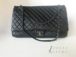 Auth Chanel XXL Airlines Jumbo Maxi Flap Travel Bag Black Caviar *EXCELLENT*