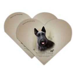 Scottish Terrier Scottie Dog Breed Heart Faux Leather Bookmark - Set of 2
