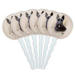Scottish Terrier Scottie Dog Breed Cupcake Picks Toppers Decoration Set of 6