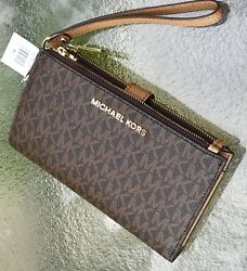 Michael Kors Brown MK Signature Jet Set Double Zip Phone Case Wallet Wristlet $84.90