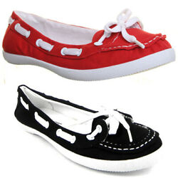 Womens Ladies Deck Boat Shoes With Lace Detail In Various Colours Size Uk 3 - 8
