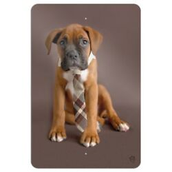 Boxer Puppy Dog Sitting with Tie Home Business Office Sign
