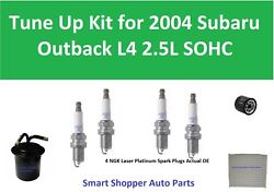 Spark Plugs, Oil, Cabin Air Fuel Filter Fit For 2004 Subaru Outback L4 Tune Up K