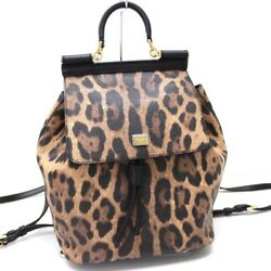 AUTHENTIC DOLCE&GABBANA D&G Leopard-Design Backpack Bag Brown and Black