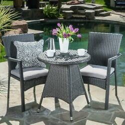 Oxford Outdoor 3 Piece Grey Wicker Dining Set With Cushions