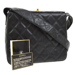 Auth CHANEL Quilted CC Cross Body Shoulder Bag Black Caviar Skin Leather AK20804