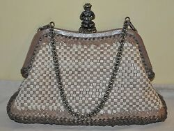 Authentic Women's Prada Madras Beige Woven Leather Evening Bag PRE-OWNED