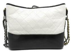 Chanel Gabrielle Hobo Chain Shoulder Bag Quilted Calfskin Leather White