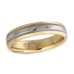 14k Solid White And Yellow Gold Wedding Bands Rings 5mm Milgrain Shiny Finish