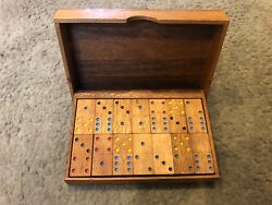 dominoes Game Set Antique Wooden Box