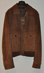 $5250 Authentic New Men's Gucci Brown Diamante Perforated Suede JacketIT56XXL