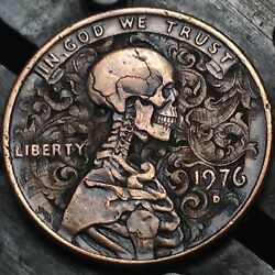 #222 Skeleton and Scrolls 1976 D copper cent penny hand carved by JAM RM1528