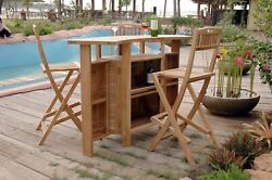 Grand Cayman Folding Bar Table Grade A Windsorand039s Teak Wood Chairs Are Not Incl
