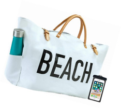 PACO Large Canvas Beach Bag Travel Tote (White) Waterproof Lining 3 Pockets F