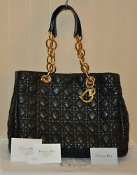 Authentic Women's Christian Dior Black Lambskin Soft Shopping Tote Bag-Pre-owned