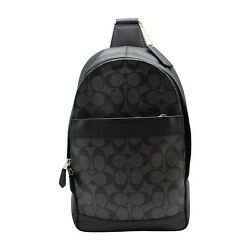 NWT COACH Mens CHARLES Signature PVC Leather Pack Shoulder Bag Backpack Black