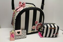BETSEY JOHNSON  Large Train Case Weekender Cosmetic Bag and Wallet Set (3) NWTs