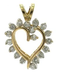 Free-form Heart Shaped Genuine Diamond Pendant In 14 Kt Yellow Gold.