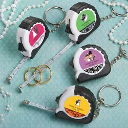 50 Personalized Key Chain- Mini Measuring Tapes Wedding Bridal Shower Favors