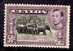 CEYLON 1938-49 GVI SG 394 50c BLACK AND MAUVE MM gum toned CAT 160 GBP