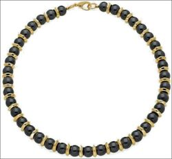 Egyptian Black Onyx Necklace And Earrings 24 Karat Gold Plated Roundels And Clasp