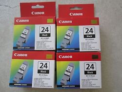 Canon Bci-24 Ink Carts Two Black Two Color Combo Genuine New Total Of 4