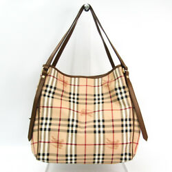 Burberry 3766303 Women's PVCLeather Tote Bag BeigeBrown BF330130